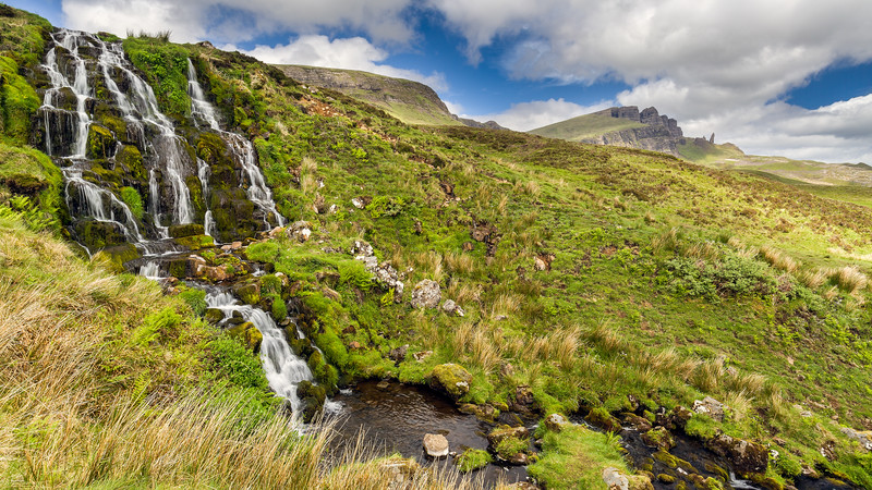 Bride's Veil Waterfall (with The Old Man of Storr)