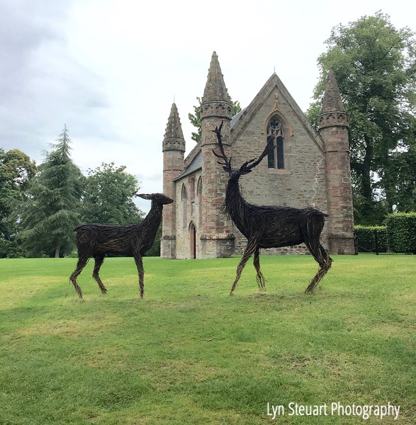 Deer sculptures at Scone Castle in front of the chapel where numerous kings of Scotland were crowned.