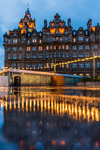 Reflection of The Balmoral Hotel in Edinburgh.