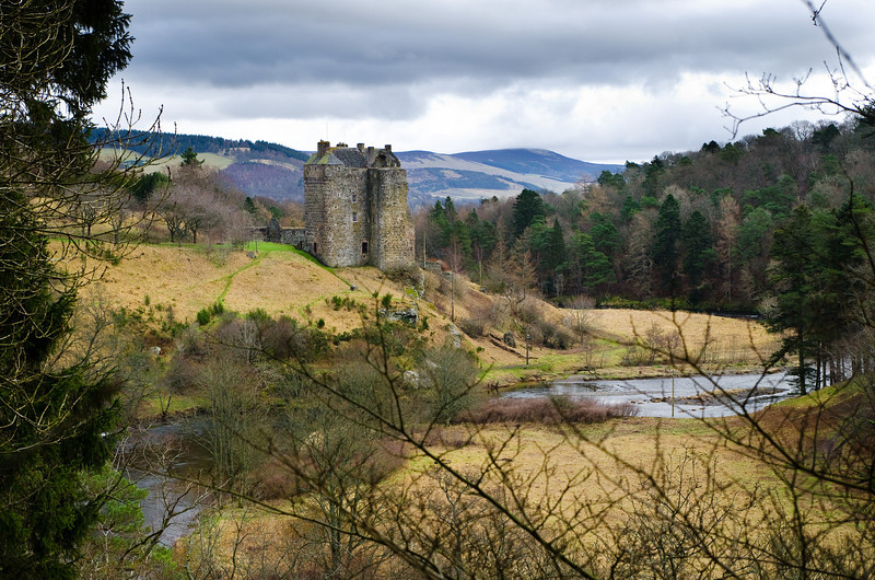 Photo:  Neidpath Castle on the banks of the River Tweed, a sight we would drive past and visit often.