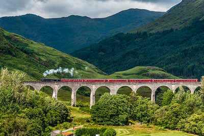 The Jacobite steam train crossing the Glenfinnan Viaduct.