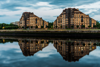 Reflection of Pacific Quay Apartments in Glasgow.