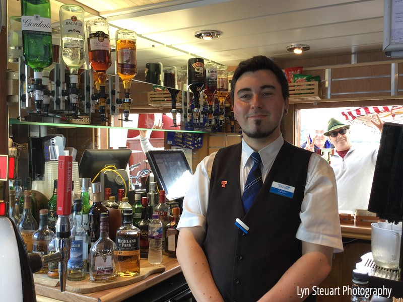 The bartender being photobombed on the steam ship SS Sir Walter Scott for a cruise on Loch Katrine.