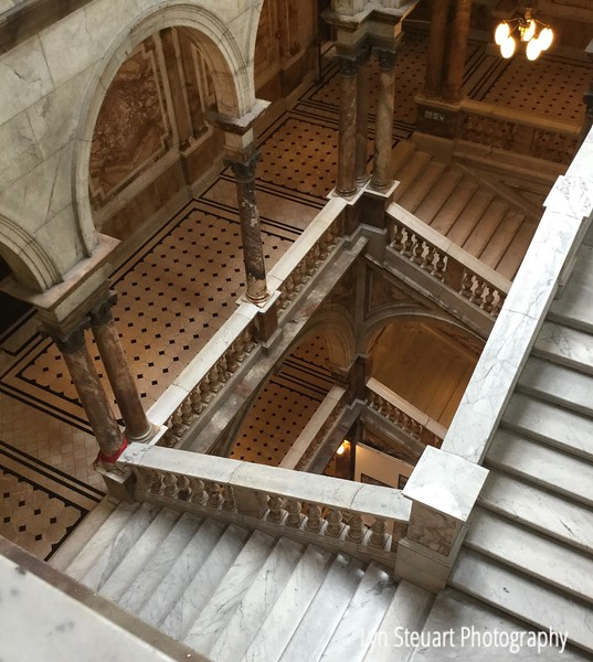 Marble staircase at the Glasgow City Chambers.  This building has the 2nd largest amount of marble with the first being the Vatican in Rome.