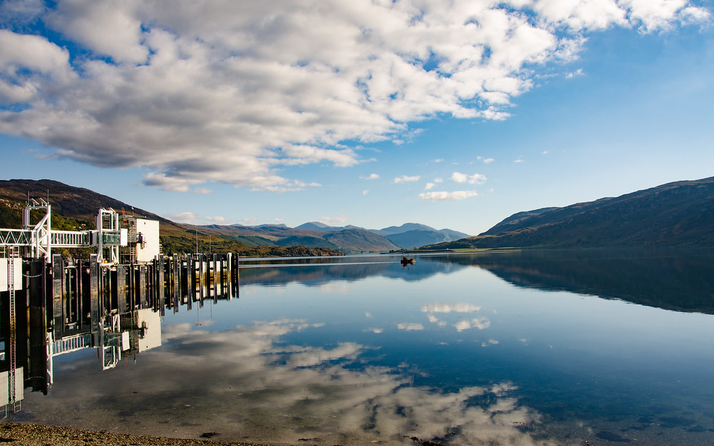 Mirror reflection Ullapool Harbour