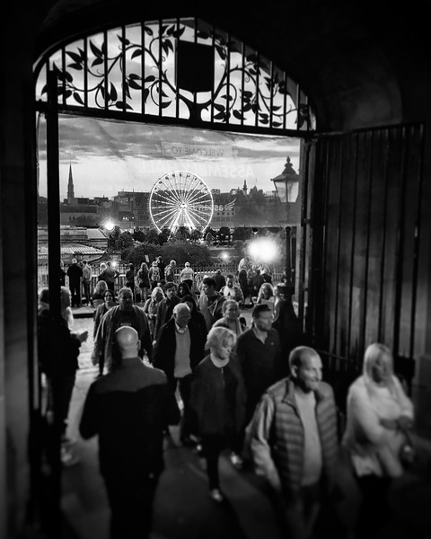 Edinburgh through the gates of Assembly Hall during Edinburgh Fringe Festival. 2017.
