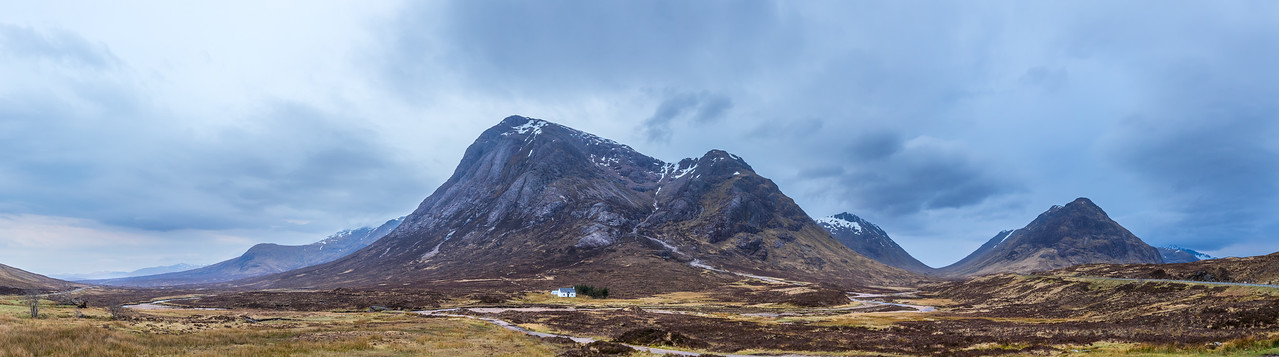 Panorama of the Bidean Nam Bian in Glencoe Scotland.