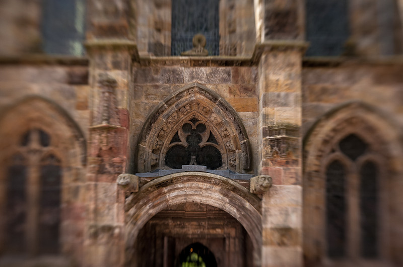 """Rosslyn Chapel, """"home"""" of the DaVinci Code saga. Much smaller than you might imagine, but with remarkably detailed carvings especially inside, often defaced by the Brits. No photos allowed inside, presumably to make us by their postcards."""