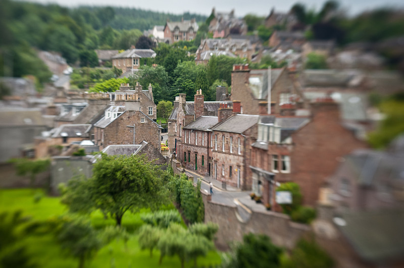 A view of the town of Melrose from the top of the Abbey.