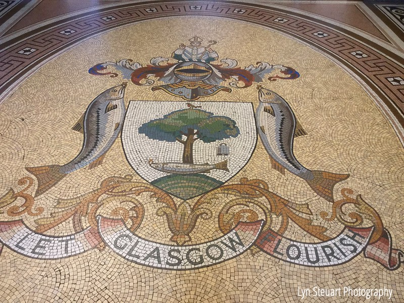 Beautiful tile design  on the floor of the entry at City Chambers Building Glasgow