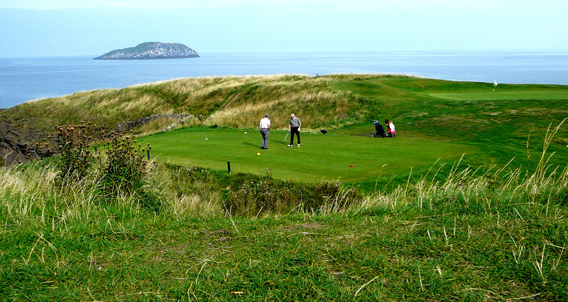 Golf at The Glen, North Berwick, Scotland.  Can you believe this hole and tee?  And it was a beautiful day, too.