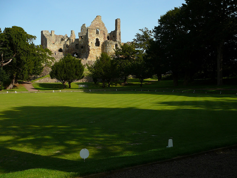 Dirleton Castle and Gardens, Scotland.  That's a beautiful bowling green in the foreground.