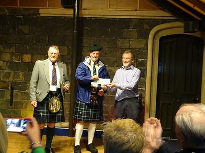 Mugdock Castle - Chieftain and Treasurer Presenting Special CGS Donation to Mugdock Treasurer