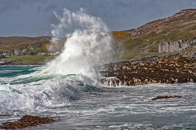 Breaking waves on Gairloch Beach