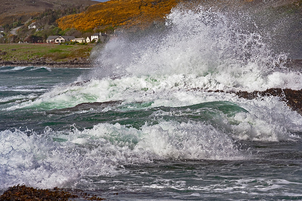 Breaking waves on Gairloch Beach