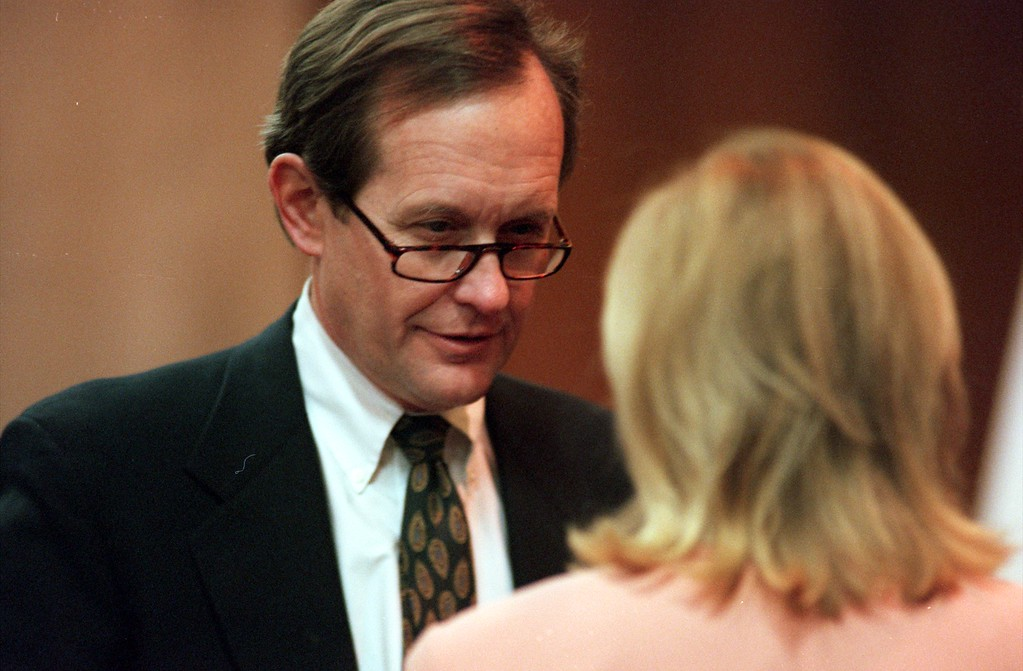 . James Feeney attorney for Warner Bros. and the Jenny Jones Show chats with TV talk show host Jenny Jones prior to the start of the $50 million wrongful-death suit brought by the family of Scott Amedure against The Jenny Jones Show in Oakland County Circuit Court in Pontiac, Mich., Wednesday  April 14, 1999. The Amedure\'s family is suing the show distributor Warner Bros. and producers Telepictures Production contending the show\'s ambush TV tactics drove Jonathan Schmitz to shoot Amedure 1995. (AP Photo/Charlie Cortez, Pool)