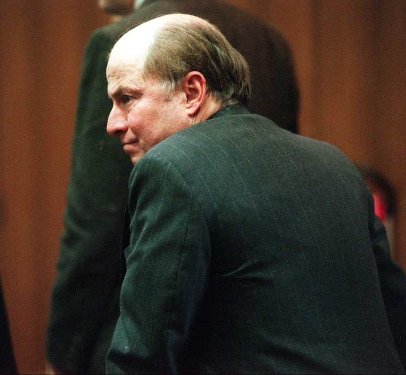 . The father of the accused murderer in the Talk Show Slaying, Allyn Schmitz, appears in court during the $50 million wrongful death lawsuit against the \'Jenny Jones\' show and it\'s distributers. Allyn Schmitz looks toward the Amedure family and shook hands with members of the family during a court break.