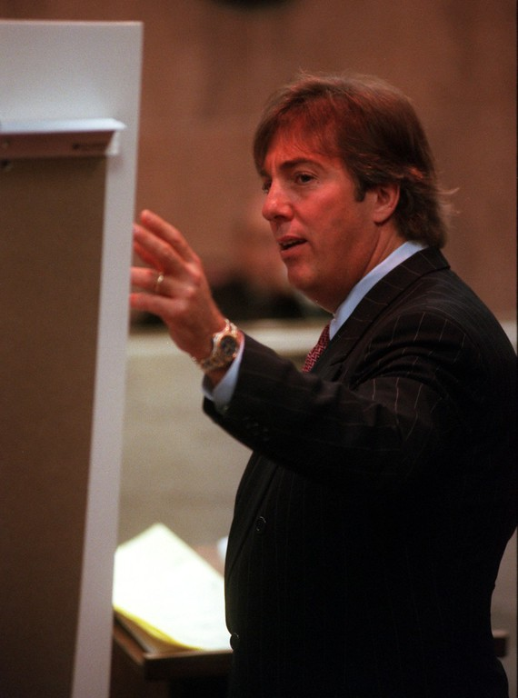 . Geoffrey Fieger, attorney for the family of Scott Amedure,  makes a point while questioning a witness during the trial of a $50 million wrongful death suit brought by the family of Scott Amedure against \'The Jenny Jones Show,\' in Oakland County Circuit Court in Pontiac, Mich., Friday, April 9, 1999.  Amedure\'s family is suing the show, distributor Warner Bros. and producer Telepicture Productions contending the show\'s \'ambush\' TV tactics drove Jonathan Schmitz to shoot Amedure.