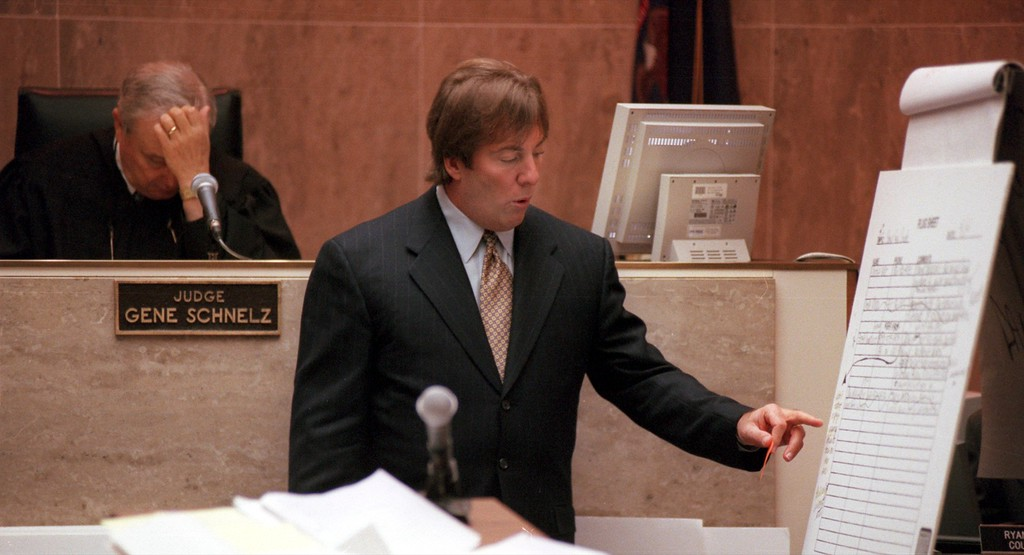 ". Geoffrey Fieger, attorney for the family of Scott Amedure makes a point while questioning Jenny Jones, host of the TV show during the $50 million wrongful death suit brought by the family of Scott Amedure against The Jenny Jones Show in Oakland County Circuit Court in Pontiac, Mich, Tuesday, April 13, 1999. The Amedure\'s family is suing the show distributor Warner Bros. and producers Telepictures Production contending the show\'s ""ambush\"" TV tactics drove Jonathan Schmitz to shoot Amedure 1995. (Ap Photo The Oakland Press, Charlie Cortez, pool)"