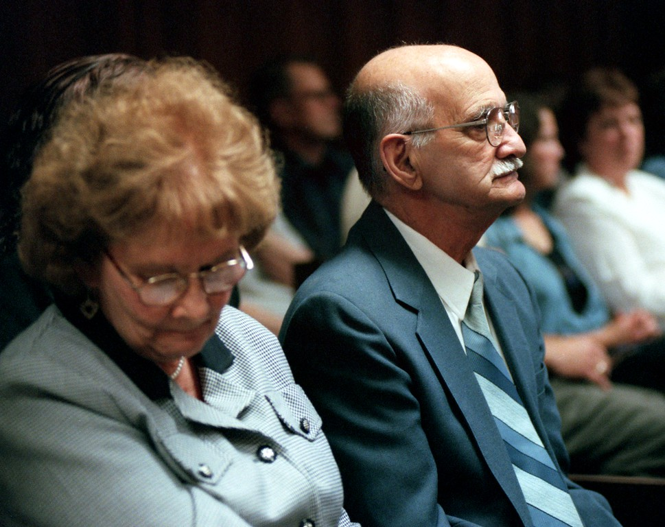 . Frank Amedure and his wife listen to the sentencing of Jonathan Schmiotz before the Honorable Judge Wendy Potts. Jonathan Schmitz recieved 25-50 years for the second degree killing their son Scott Amedure.