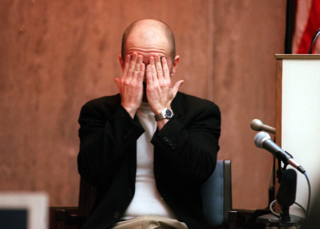 . Ron Muccianti producer for \'The Jenny Jones Show\'  collects his thoughts during his testimony in Oakland County Circuit Court, Ponitac, Mich., April 20, 1999 during the trial of a $50 million wrongful death suit brought by the family of Scott Amedure against \'The Jenny Jones Show\'. (AP Photo/Charlie Cortez, Pool)
