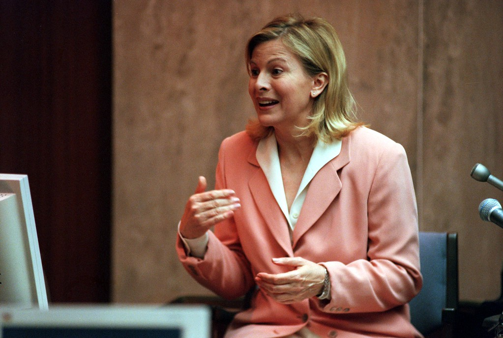 . Talk show host Jenny Jones answers questions during testimony in Pontiac, Mich., Wednesday April 14, 1999  during the $50 million wrongful-death suit brought by the family of Scott Amedure against The Jenny Jones Show in Oakland County Circuit Court in Pontiac, Mich., Wednesday  April 14, 1999. The Amedure\'s family is suing the show distributor Warner Bros. and producers Telepictures Production contending the show\'s ambush TV tactics drove Jonathan Schmitz to shoot Amedure 1995. (AP Photo/Charlie Cortez, Pool)