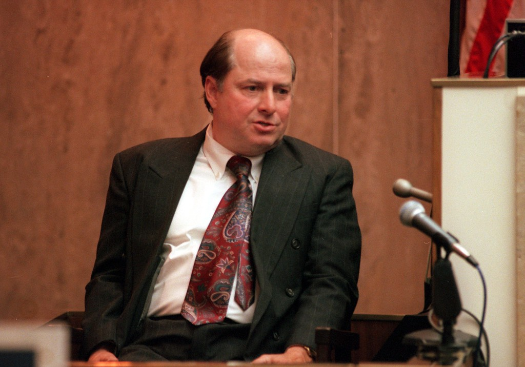 . Allyn Schmitz, father of the accused killer Jonathan Schmitz answers questions during testimony in Oakland County Circuit Court, Ponitac, Mich., April 20, 1999 during the trial of a $50 million wrongful death suit brought by the family of Scott Amedure against \'The Jenny Jones Show\'. (AP Photo/Charlie Cortez, Pool)