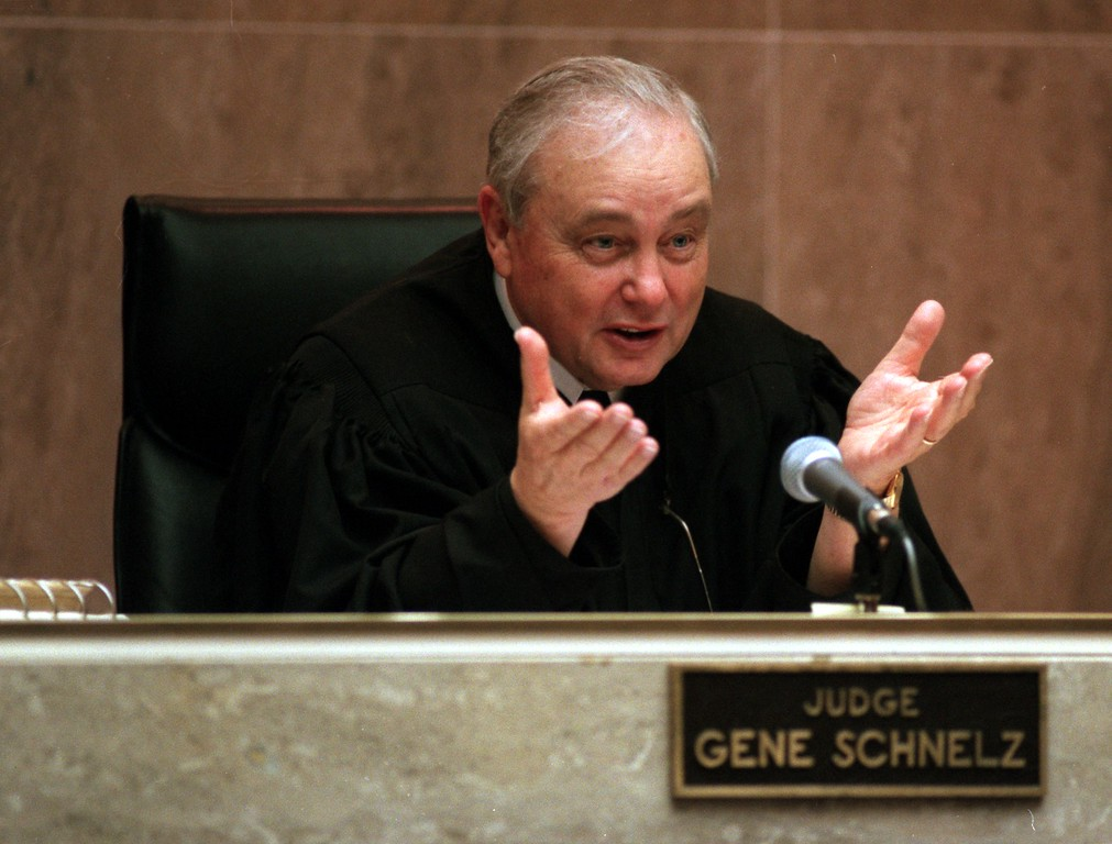 ". Gene Schnelz circuit judge listens to opening statements in Oakland County Court, Pontiac, Mich. March 31, 1999 during the wrongful death lawsuit against ""The Jenny Jones Show\"" The family of Scott Amedure sued the show and its producers, contending they were responsible for setting in moting the event that led to Amedure\'s March 9, 1995, fatel shooting in his home."