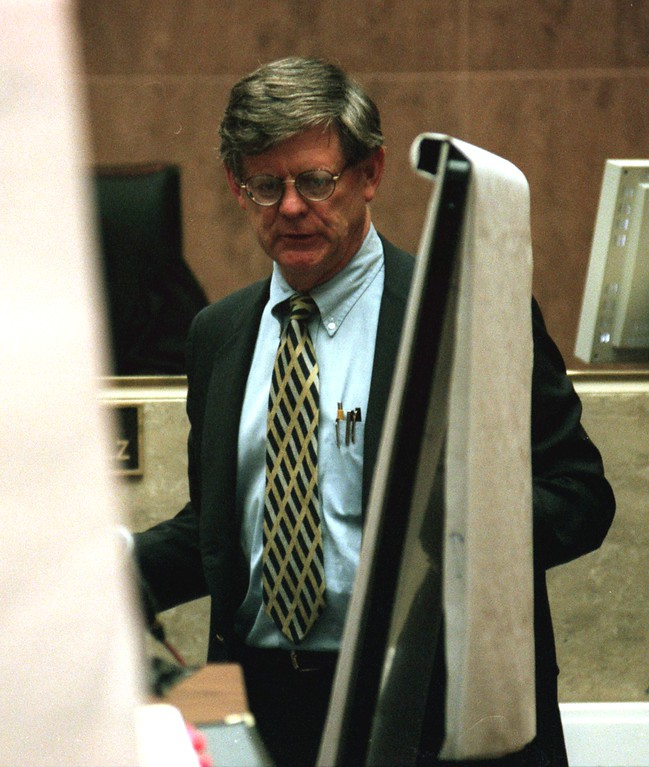 . Attorney for the Defense, Jim George, cross examines a witness  during the  $50 million wrongful death lawsuit against the Jenny Jones\' Show in Oakland County Circuit Court,  before Judge Gene Schnelz , as testimony continued in the case involving the death of talk show guest Scott Amedure.