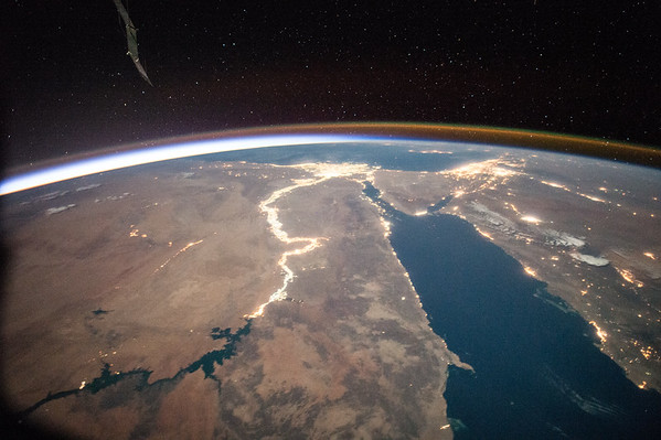 Day 121. The #Nile at night is like a jewel. Good night from @Space_Station! #YearInSpace