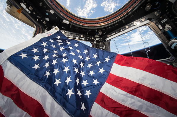 Stars and stripes from @Space_Station. Happy #NationalFlagDay! #YearInSpace