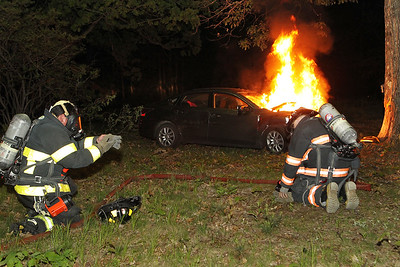 Scott LaPrade - Car fire Leominster Lindell Ave near the Boys and Girls Club - driver went off the road struck the tree and burst into flames - he was out on arrival of FD