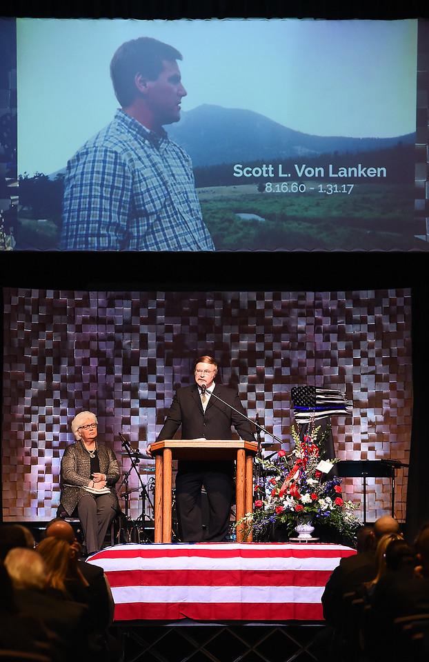 Pastor Dennis Severson talks about his friend Scott VonLanken during VonLanken's memorial service Monday, Feb. 6, 2017, at Rez Church in Loveland. VonLanken, an RTD security officer, was killed while on duty in downtown Denver last week.  (Photo by Jenny Sparks/Loveland Reporter-Herald)