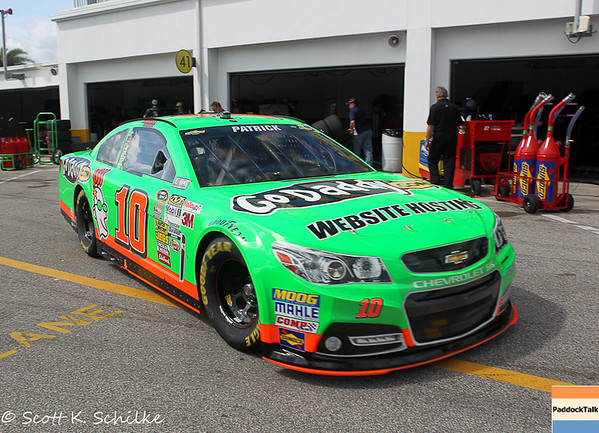 February 22: Daytona 500 Sprint Cup driver of the #10 Danica Patrick Go Daddy.com Chevrolet for Stewart Haas Racing heading out for practice.