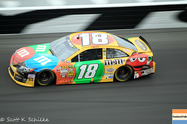 February 24, Nascar Sprint Cup Daytona 500 in turn four with the #18 Kyle Busch Joe Gibbs M&M's Toyota.