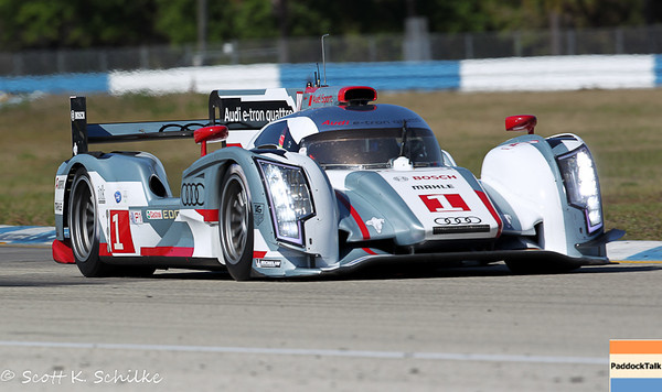 March 14, 12 Hours of Sebring practice of the #1 Audi R-18 e-tron quattro of Marcel Fassier, Benoit Treluyer and Oliver Jarvis on thursday morning practice #1.