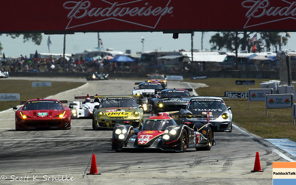 2013 AMLS American Lemans Series 61st running of the 12 hours of Sebring cars running fast into turn 7 the hair pin turn.