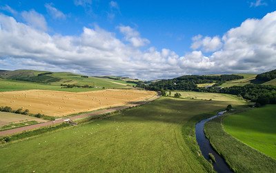 The new Borders Railway. Scene shows rail track, towards the north, at Bowshank farms.
