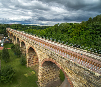 The new Borders Railway. Scene shows rail track, towards the north, at Newbattle Viaduct.