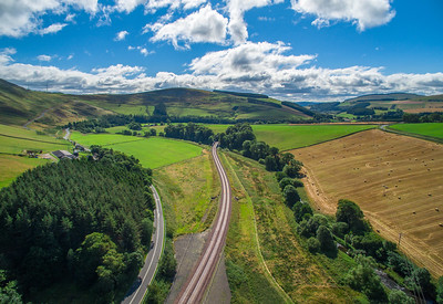 The new Borders Railway. Scene shows rail track, towards the south, at Bowshank farm.