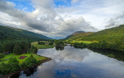A still morning on Loch Oich, viewing south towards Laggan Locks. Shot from the Great Glen Water Park