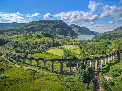 The Glenfinnan Viaduct looking towards Loch Shiel and the Glenfinnan Monument, sunny, no train