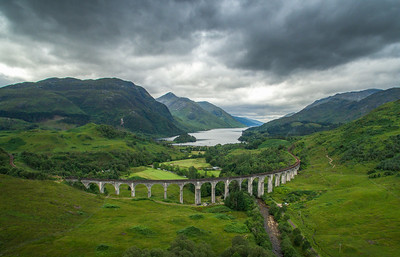 The Glenfinnan Viaduct looking towards Loch Shiel and the Glenfinnan Monument, dull day, no train