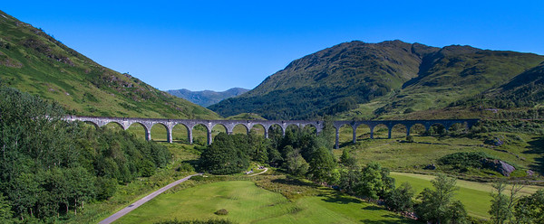 The Glenfinnan Viaduct looking towards the glen, sunny morning, no train