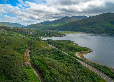 Viewing towards Lochoilart and the West Highland Line as it winds its way along the loch side.