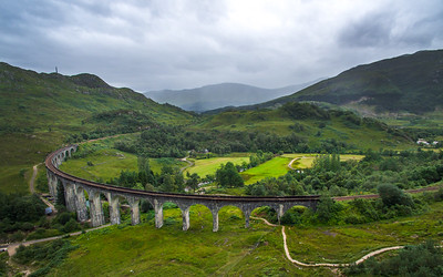 The Glenfinnan Viaduct looking east, dull day, no train