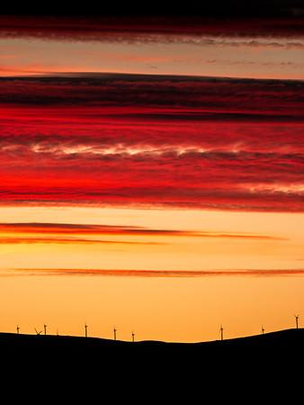Sunset over Evanton Windfarm