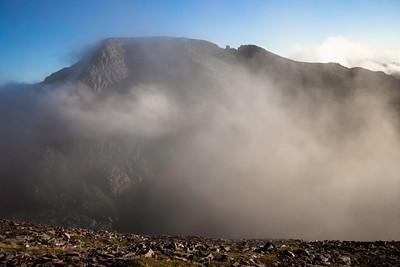 A'Mhaighdean encircled by mist.