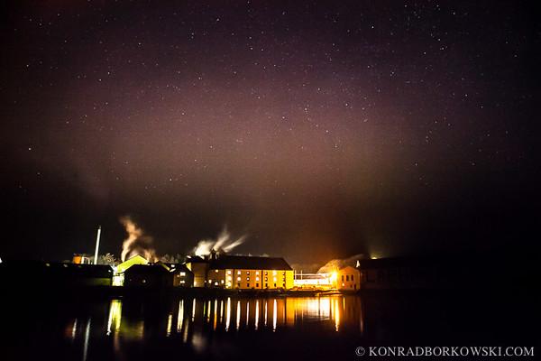 Aurora over Laphroaig Distillery, Isle of Islay, Scotland