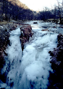 Frozen falls at Polldubh, Glen Nevis.  3pm, 08/02/79